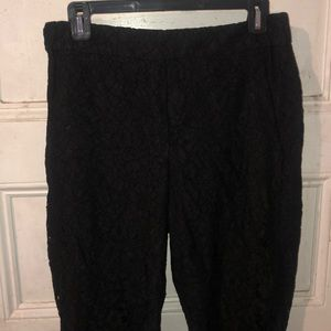 J.Crew Easy Pant in Lace, Black size 6